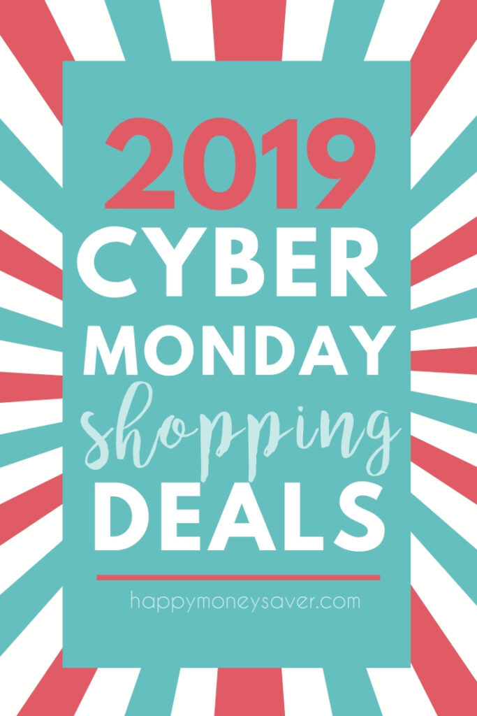 Graphic with pink and blue colors with words 2019 Cyber Monday Shopping Deals - happymoneysaver.com