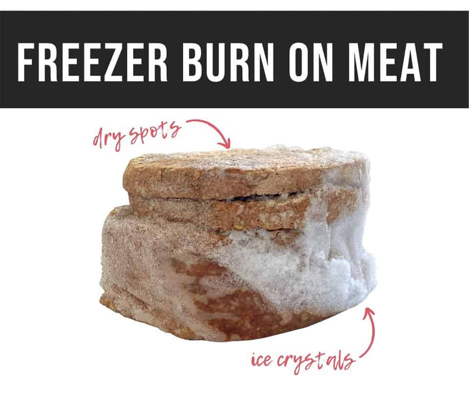 freezer burn on meat such as hamburger patties like these ones stacked with dry spots and ice crystals