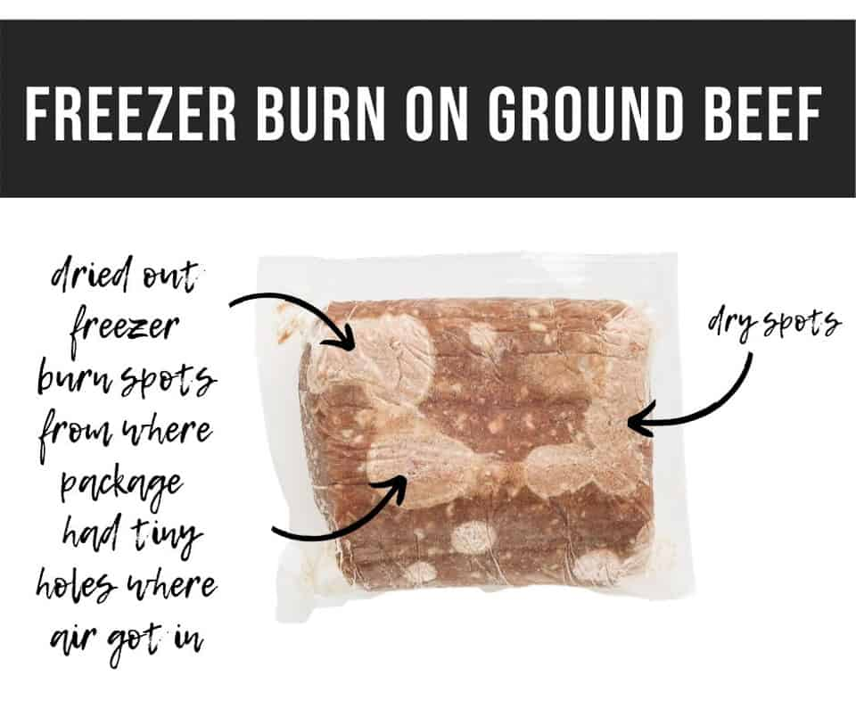 Vacuum Sealed ground beef package with freezer burn on it and graphic words saying freezer burn on ground beef, dry spots and more.