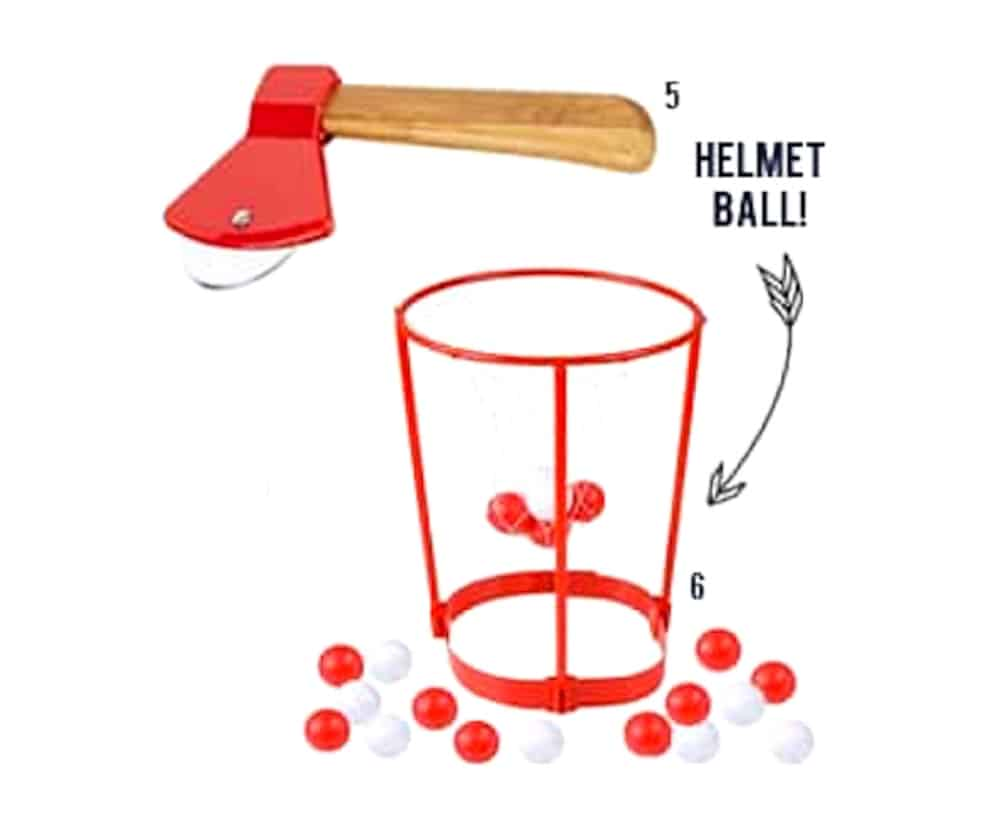 Roundup of Funny White Elephant gifts - helmet ball and red ax images numbered on white background.