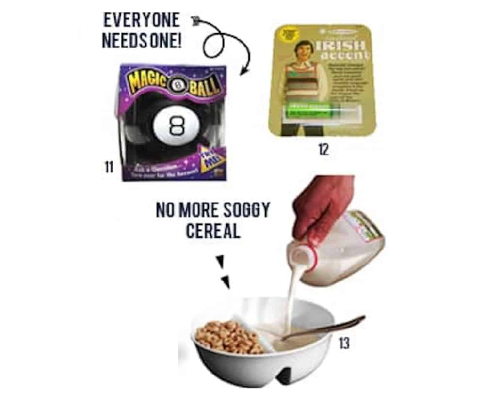 Roundup of the best White Elephant gifts that make you laugh - magic 8 ball, irish accent chapstick, soggy cereal mages numbered on white background.