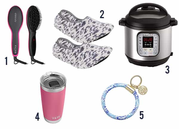 5 gifts for a busy mom including a straightening brush, slippers, Instant Pot, Yeti tumbler, and a keychain.
