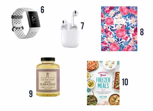 5 gift ideas for busy moms including a fitbit, airpods, planner, bubble bath and cookbook.
