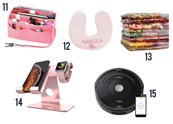5 gift ideas for busy moms for a busy mom including a organizer, pillow, meals, charging dock, and roomba.