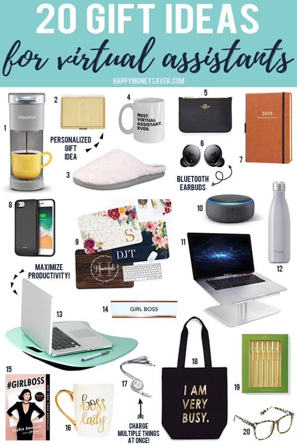 20 Gift Ideas For Virtual Assistants by happymoneysaver.com words with pictures of each item numbered 1-20