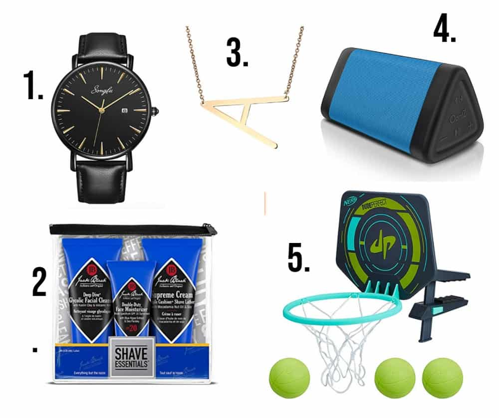5 numbered gifts for teens such as 1. watch 2. shave essentials 3. initial necklace 4 bluetooth speaker 5. hoop
