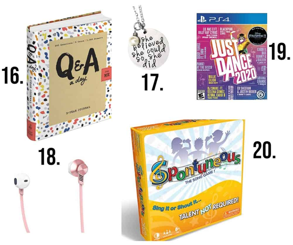 Awesome gifts for teens numbered 16-20 including earbuds, just dance and spontuneous game.