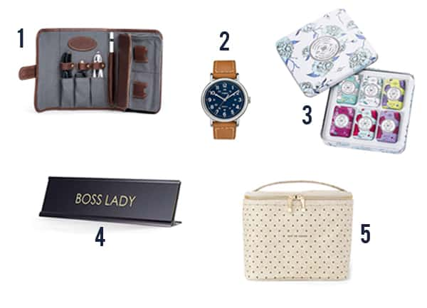 The memorable gifts for your boss like portfolio, watch, soap, desk sign, and tote.