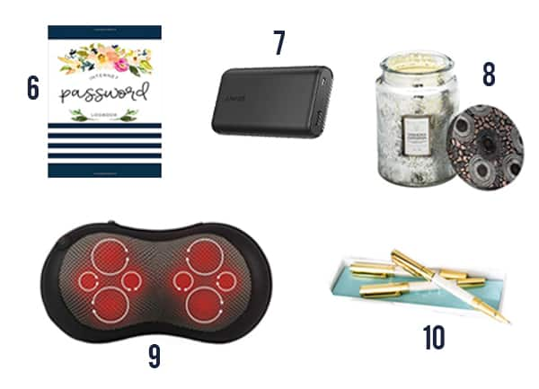 The memorable gifts for your boss like a journal, battery, candle, massage pillow, and pen set.