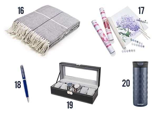 The thoughtful gifts for your boss like blanket, paint by numbers, pen, box, and mug.