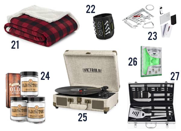 27 Cheap Gifts for Men that he'll actually want with images including blankets, candles and tools.