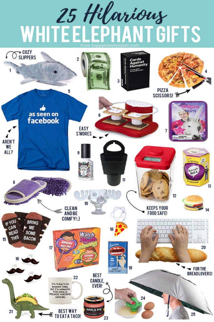 25 Hilarious White Elephant Gifts image with lots of product images each with a corresponding number on it.