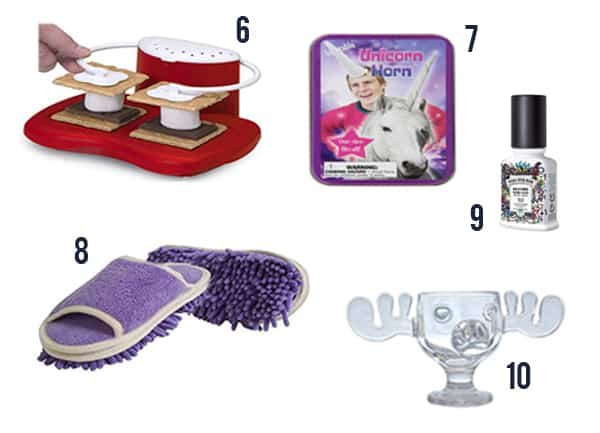 White Elephant Gift Ideas that are so funny like a smore's maker, unicorn horn, and poo-purri.