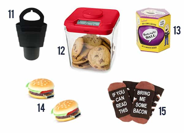 Silly & Hilarious White Elephant Gift like a fry holder, safes, balls, and flash drives.