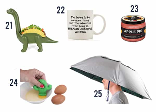 Funny White Elephant Gift Ideas like a taco holder, candle, mug and hats.