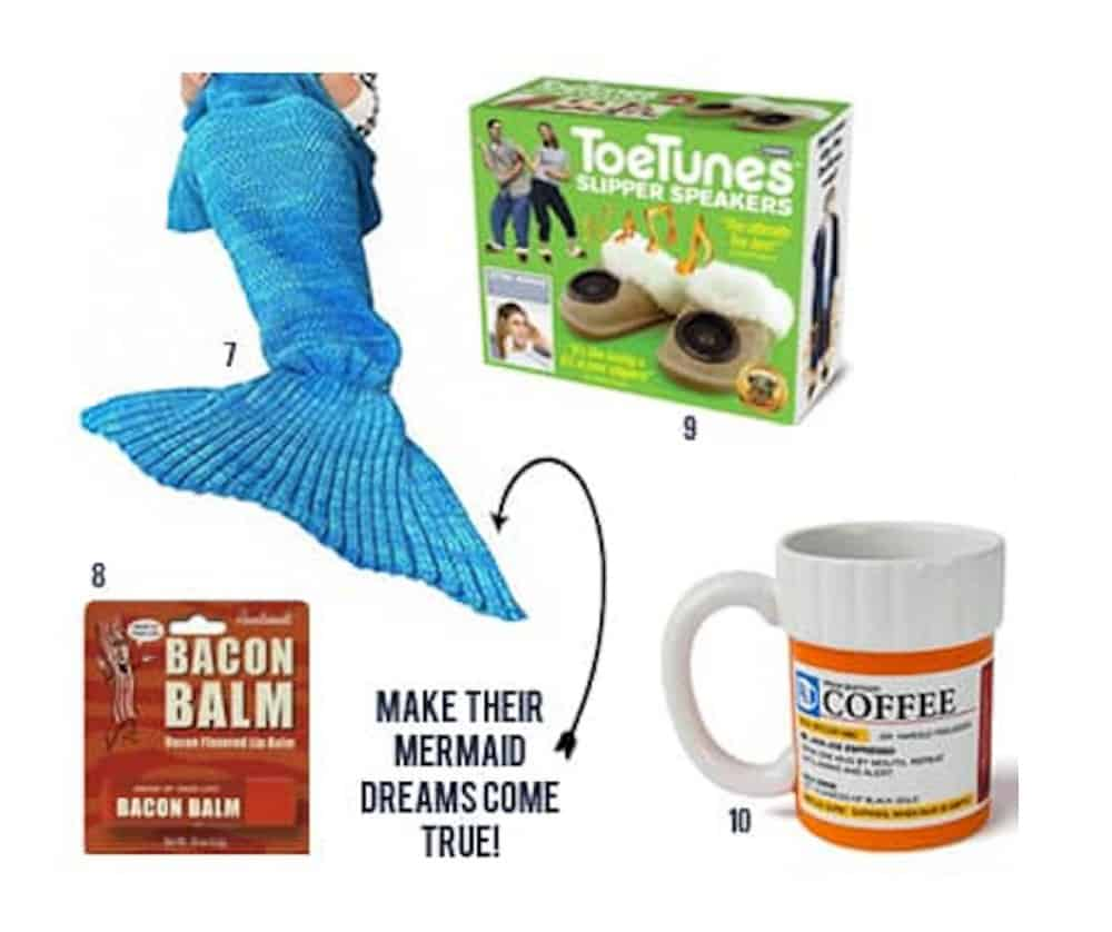 Roundup of Hilarious White Elephant gifts - mermaid tail, toe tunes, bacon balm and coffee mug images numbered on white background.