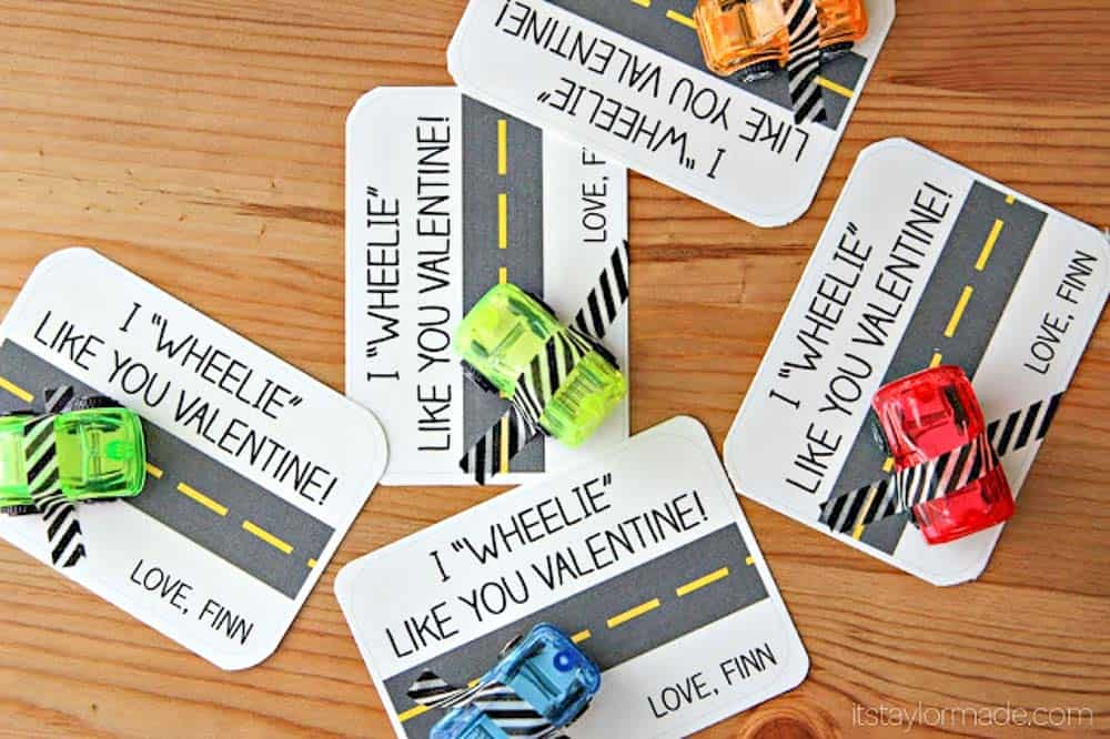 I wheelie like you free printable tag with cars taped on for a thrifty Valentines day toy.