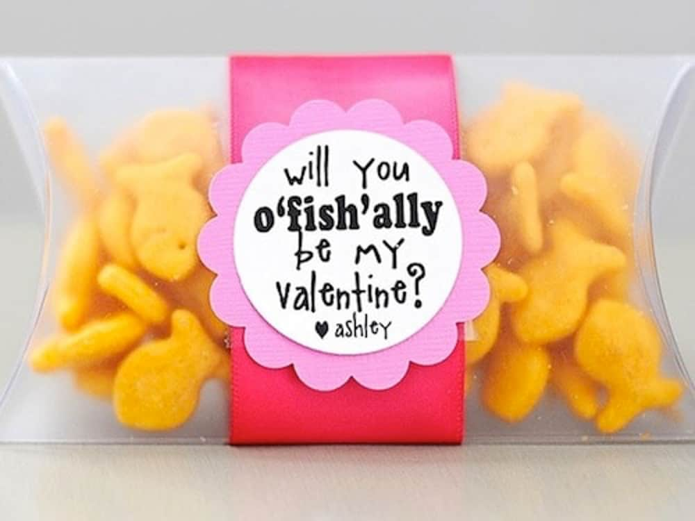 Gold fish crackers Valentine idea for kids.