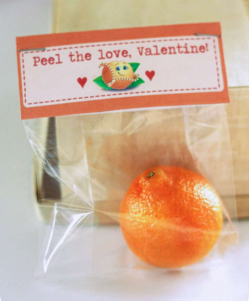 Cutie Orange Valentine in a plastic bag with a topper that says Peel the Love Valentine on white background.