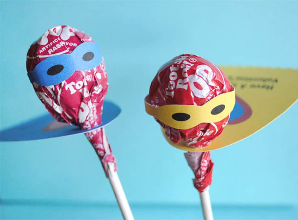 Two tootsie pop diy valentines for kids