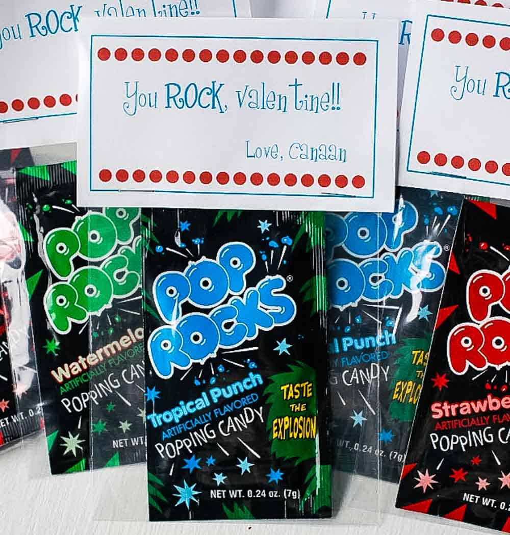 Pop Rocks DIY Valentine idea with pop rocks candy and free printable tag saying you rock Valentine.
