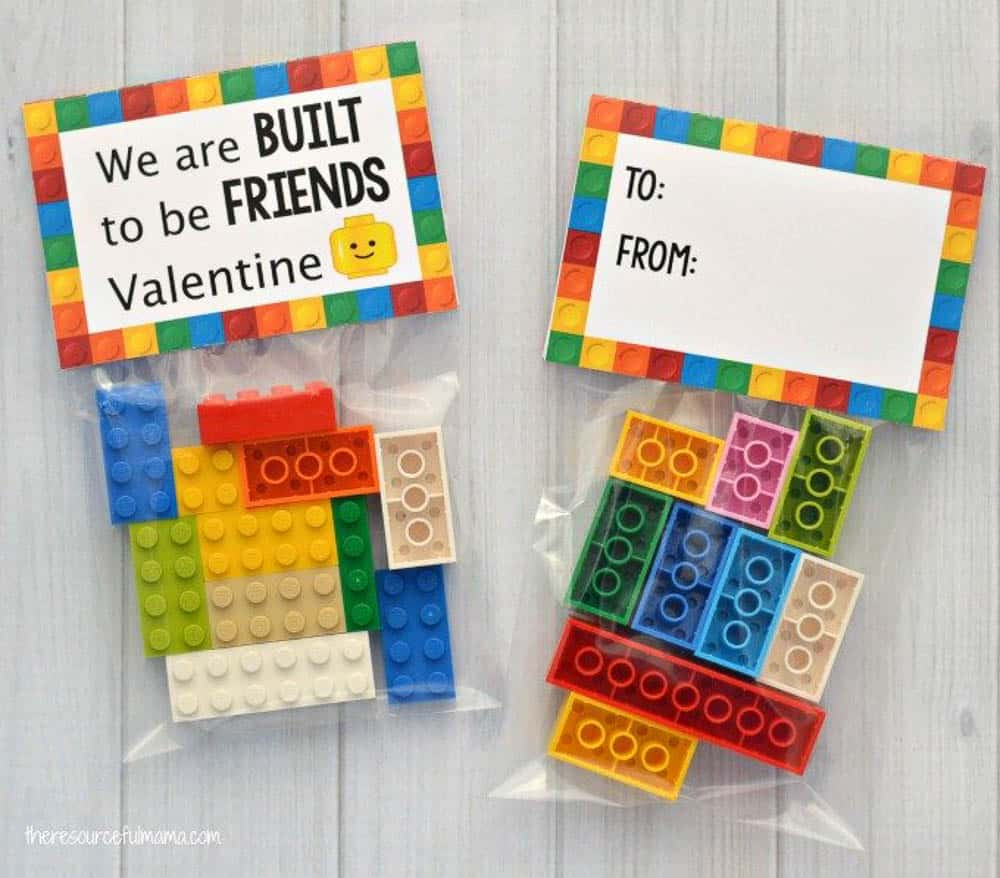 Lego DIY Valentines for Kids saying We are build to be Friends, Valentine.