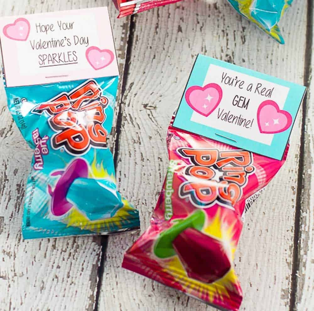 Ring Pop Valentine bag topper idea makes a wonderful DIY Valentines for Kids.