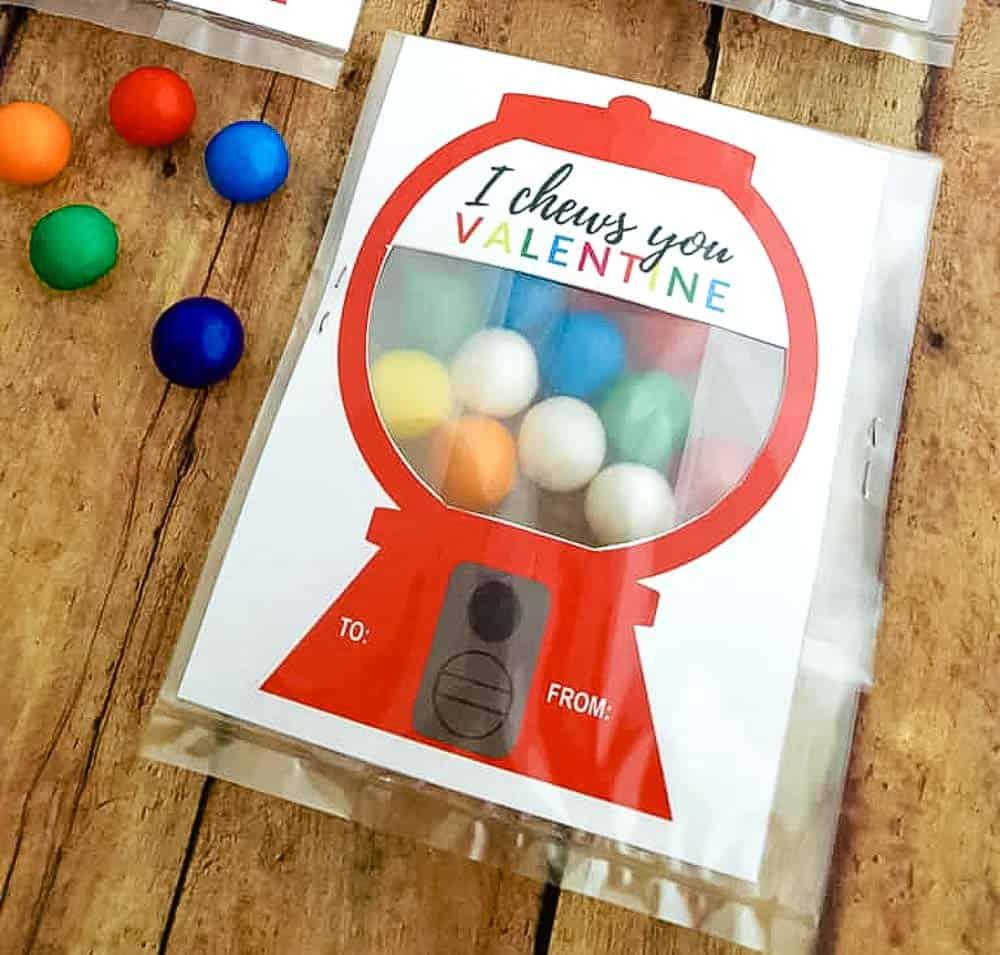 Bubble gum machine Valentine idea for kids.