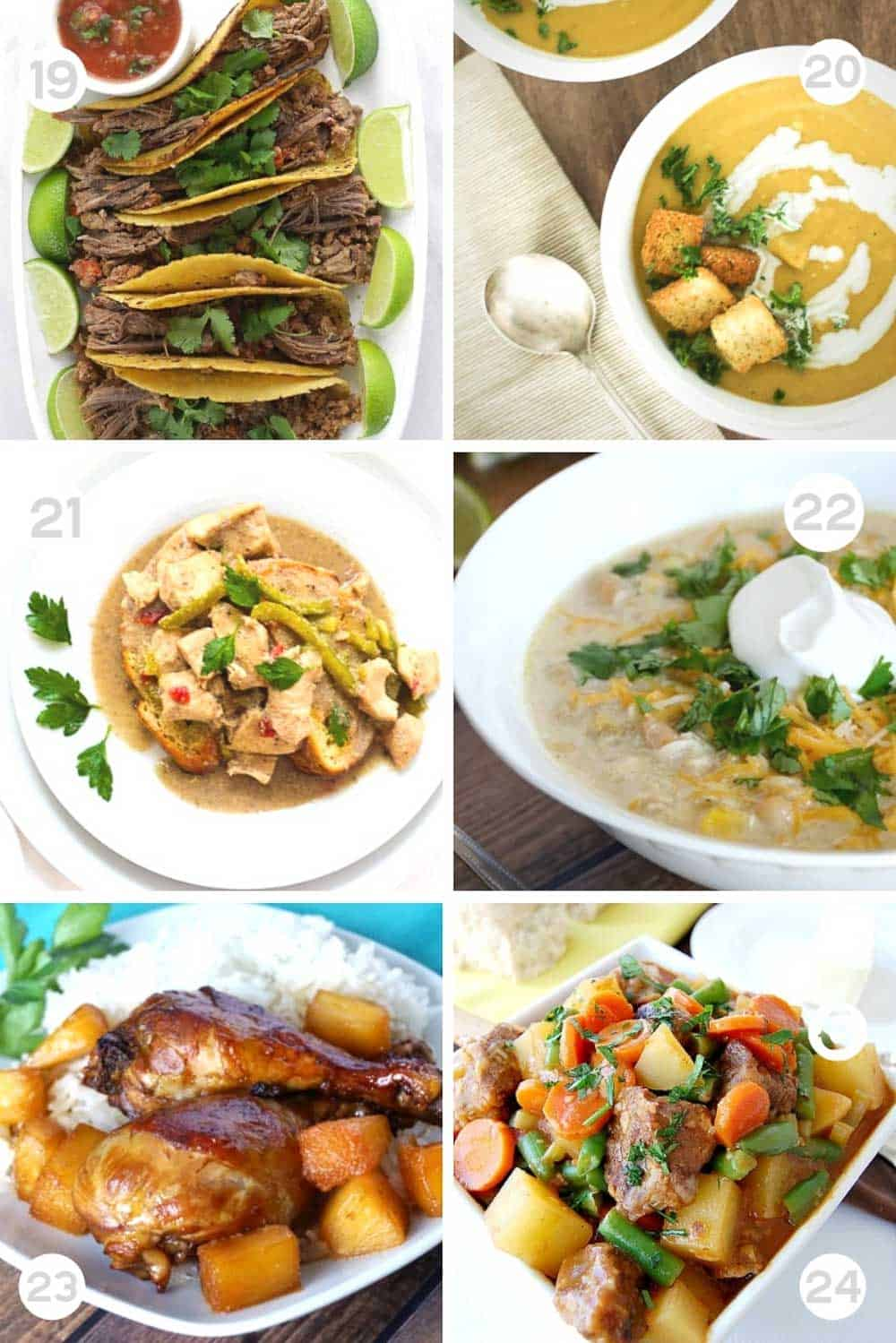 6 Different Healthy freezer slow cooker meals numbered 6-12