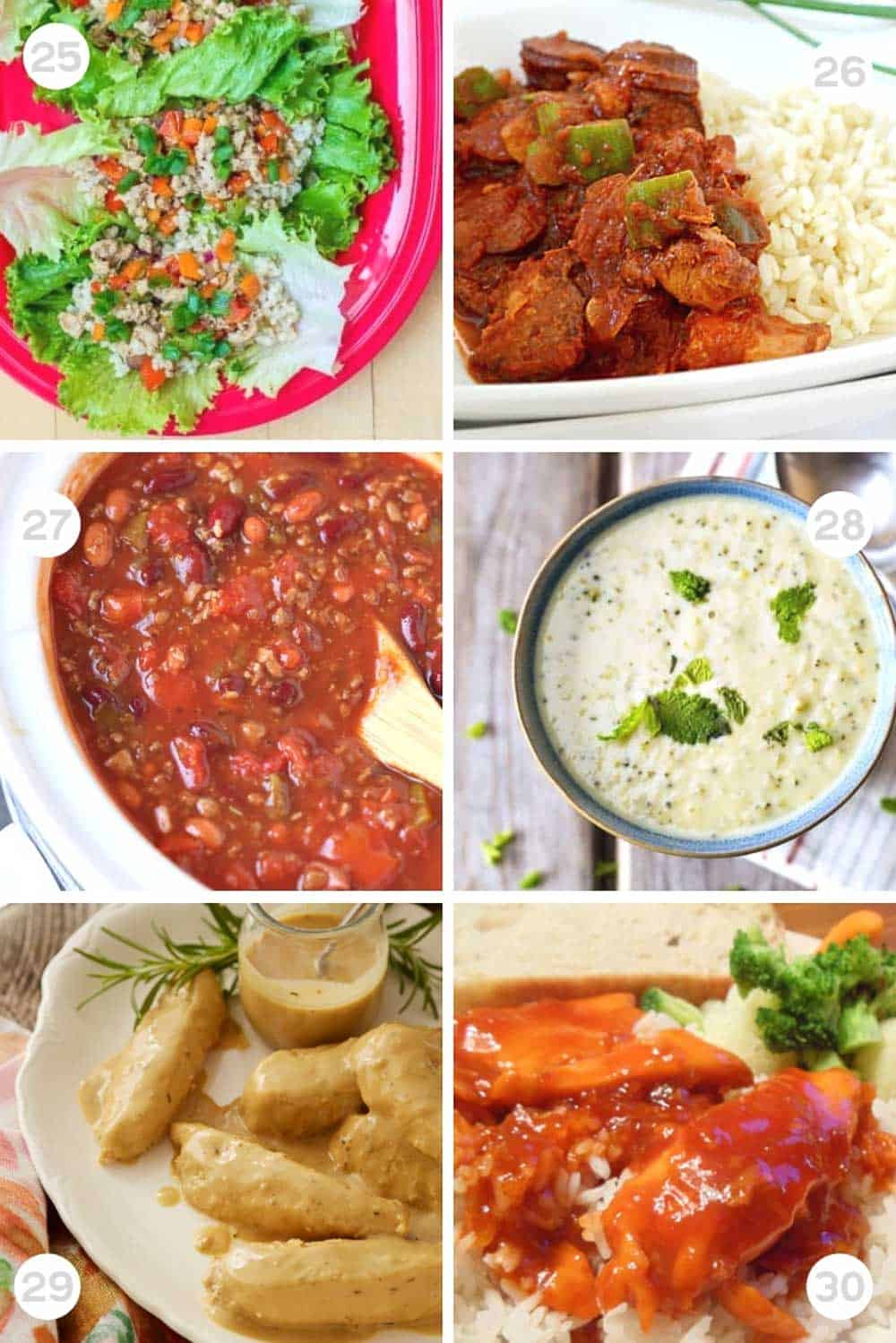 6 Different Healthy freezer slow cooker meals numbered 25-30