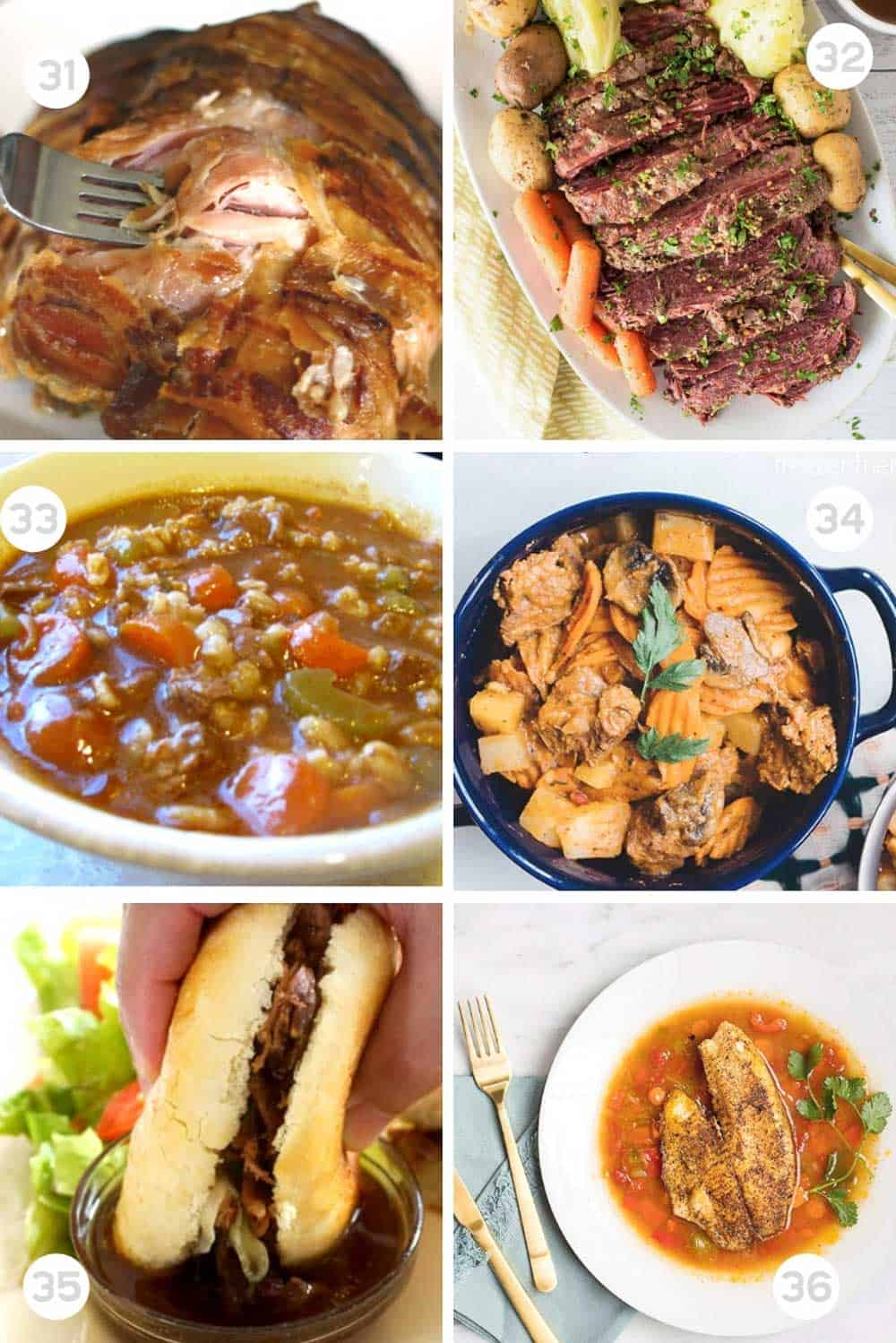 6 Different Healthy freezer slow cooker meals numbered 31-36