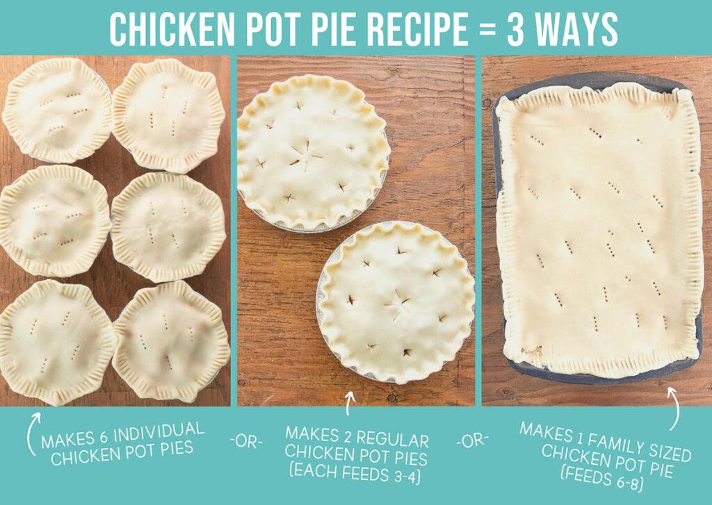 Chicken Pot Pie in 3 different ways