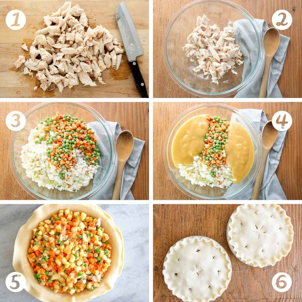 The six steps of making chicken pot pie with detailed pictures.