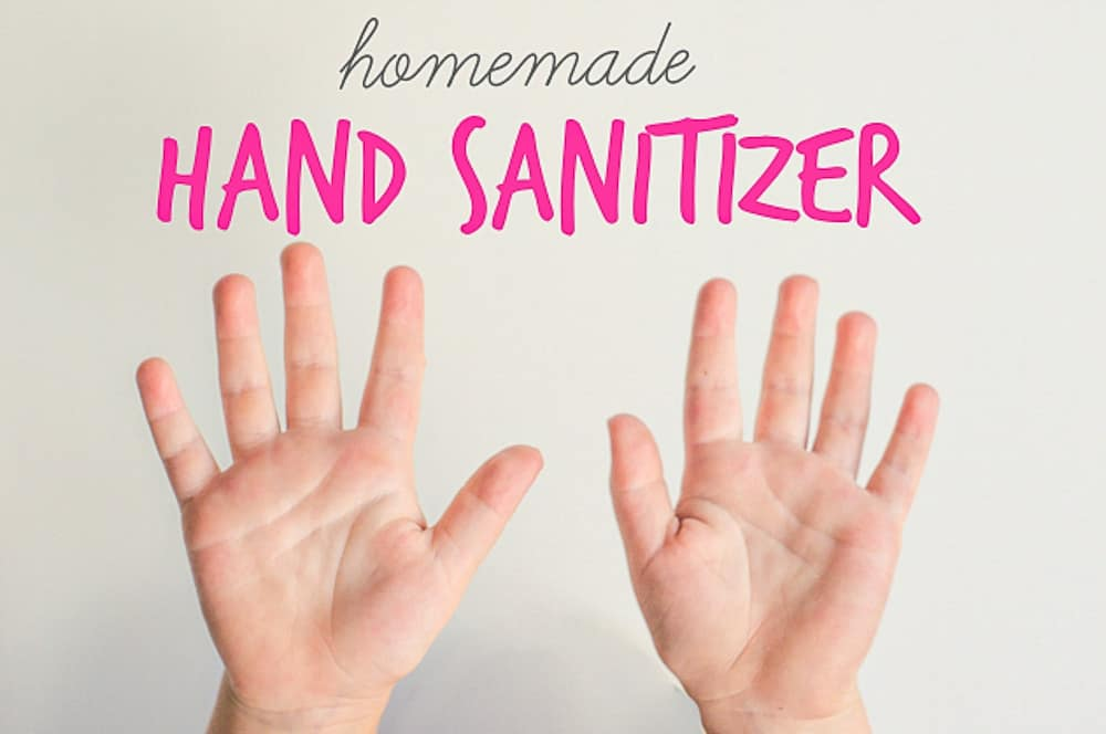 The words homemade hand sanitizer are above a pair of clean hands.