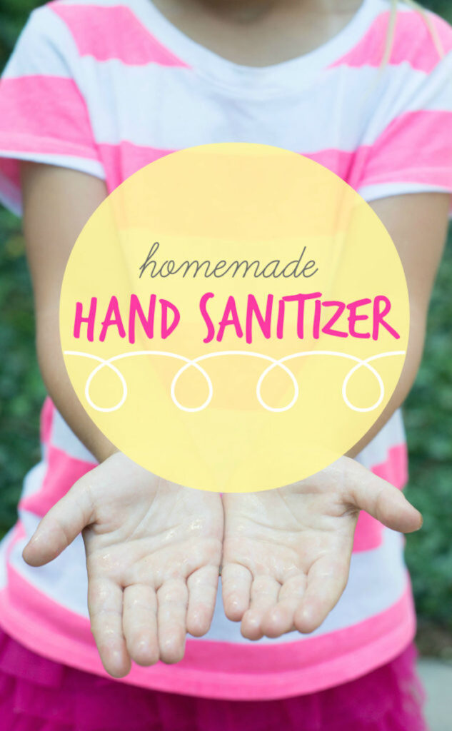 Clean hands reaching out with the words homemade hand sanitizer in a yellow circle above it.