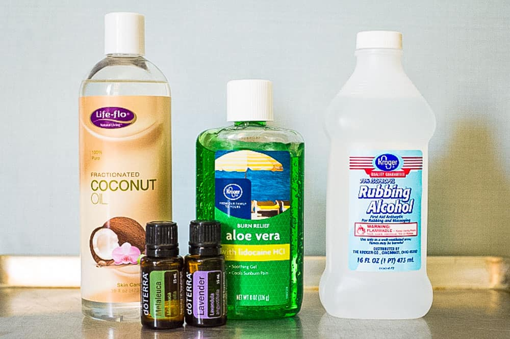 Ingredients for diy hand sanitizer recipe.