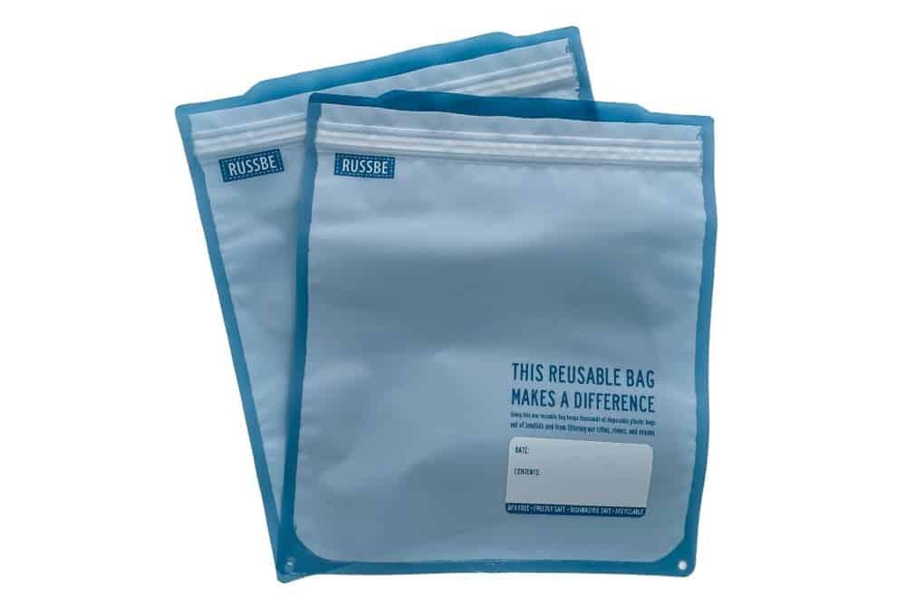 2 Russbe Gallon sized freezer safe reusable bags, empty