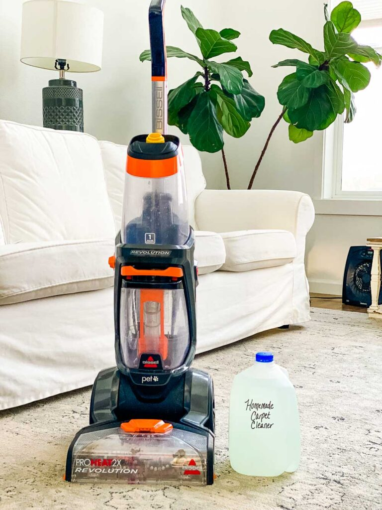 Living room with a Bissell carpet cleaning machine and a solution of carpet cleaner in a gallon jug next to it. Green plant in background.