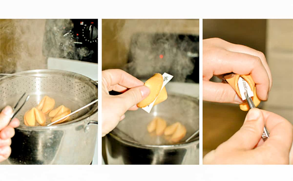 Step by step on boiling fortune cookies, removing fortune paper and adding new ones inside.