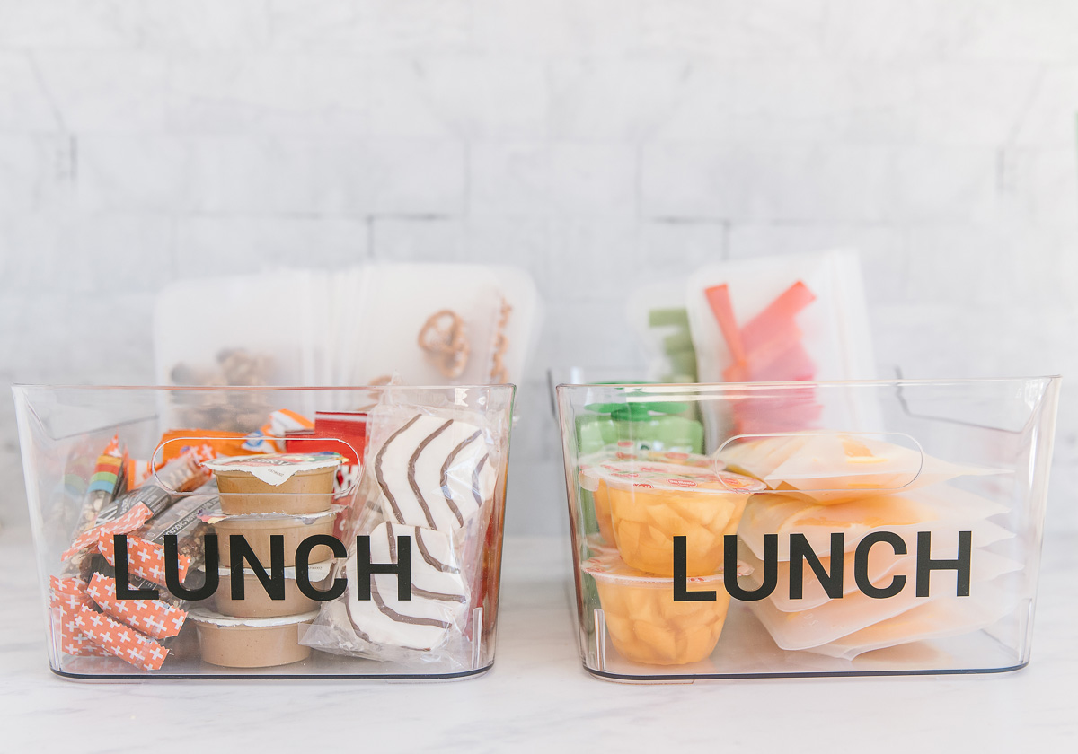 Two plastic containers with the word lunch on both of them. One is filled with prepackaged fruit and veggies and one is filled with packaged snacks, applesauce, nuts, peanut butter, crackers and pretzels.