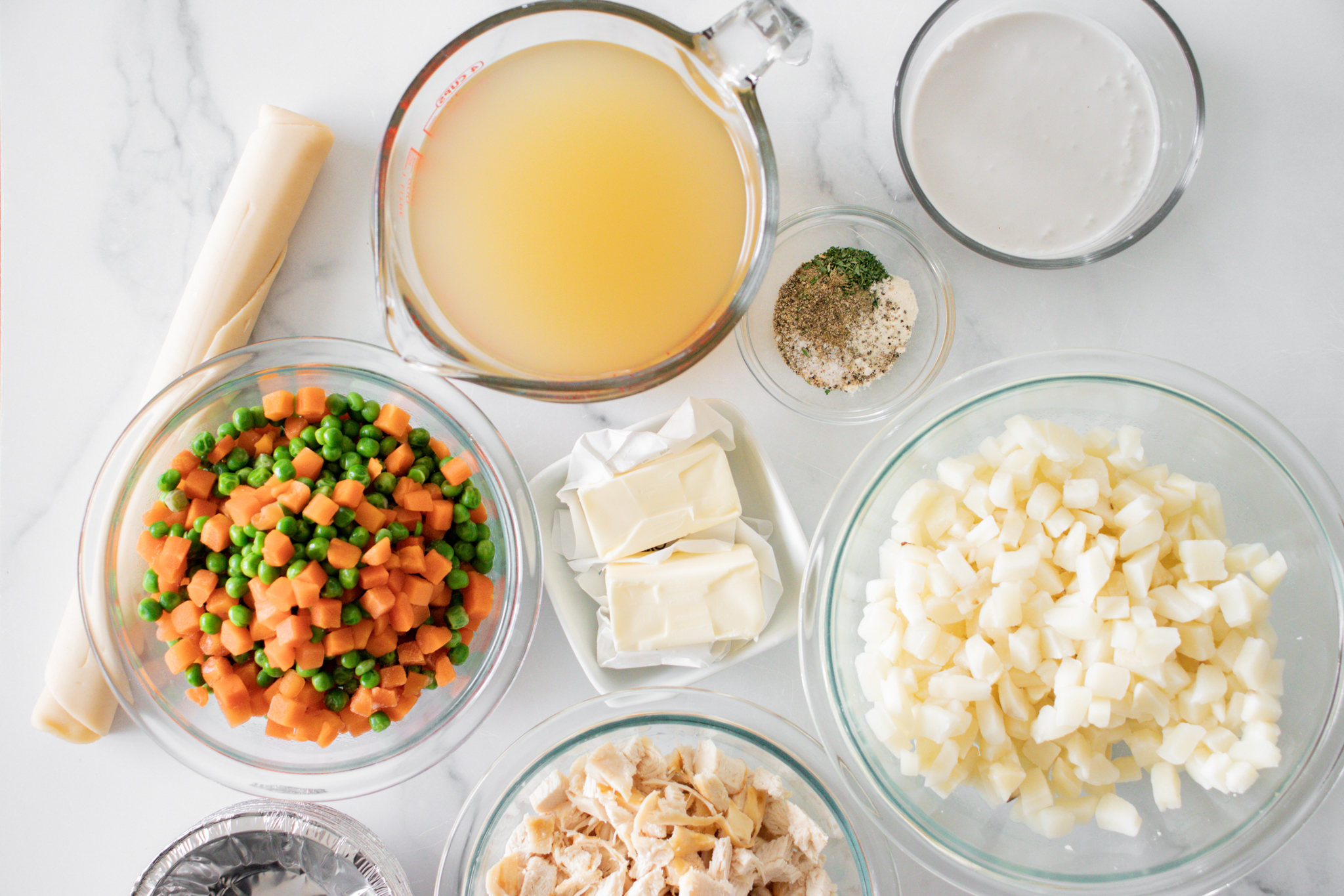 Ingredients for mini chicken pot pies