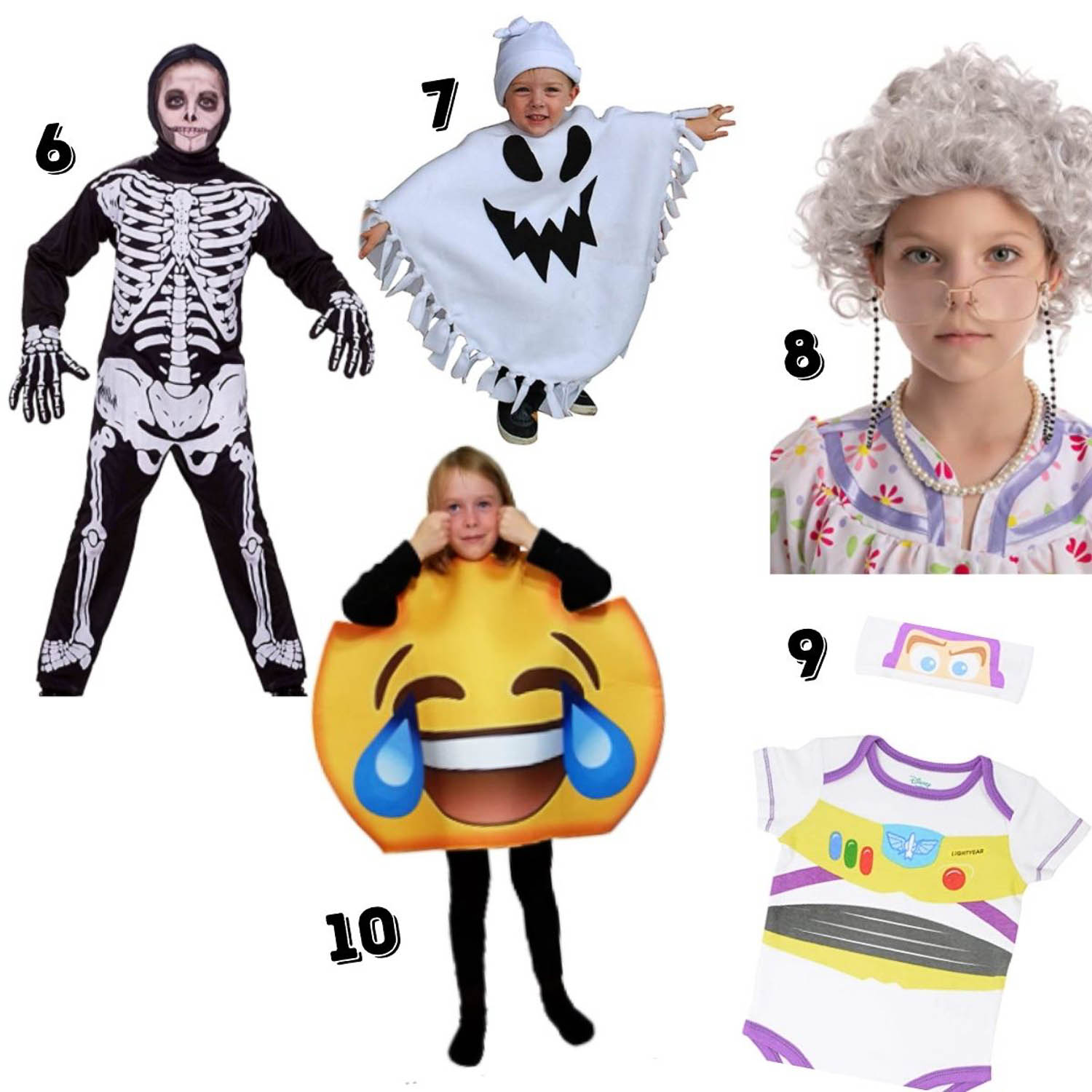 5 kid's Costumes - skeleton, ghost, old lady, Buzz Lightyear, and emoji.