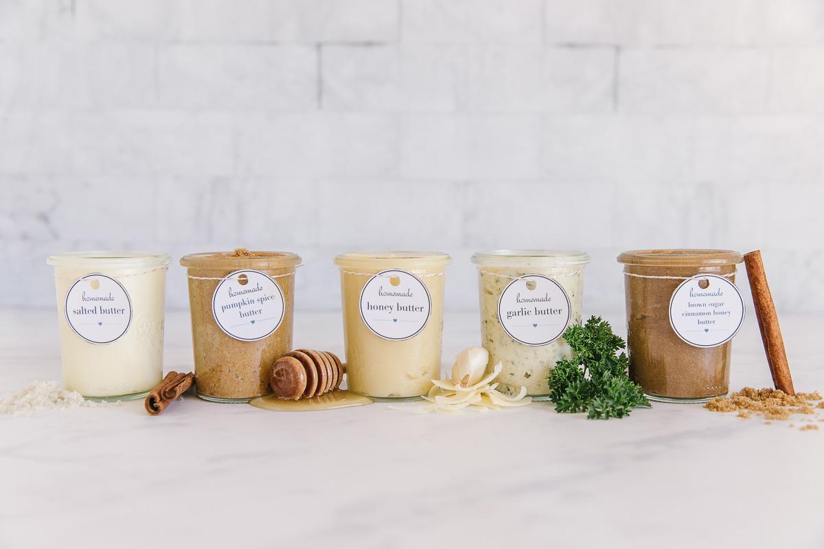 5 Flavored butter recipes jar  including salted butter, pumpkin spice butter, garlic herb butter, honey butter.