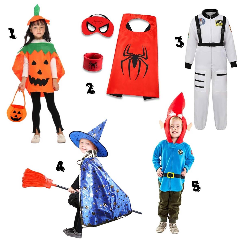 5 cheap kids halloween costumes - pumpkin,  superheroes, astronaut, warlock, gnome