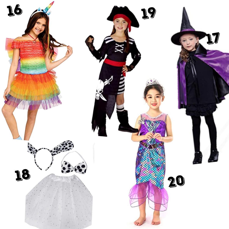 5 kid's cheap kids halloween costumes - rainbow unicorn, pirate, witch, Dalmatian and unicorn princess.