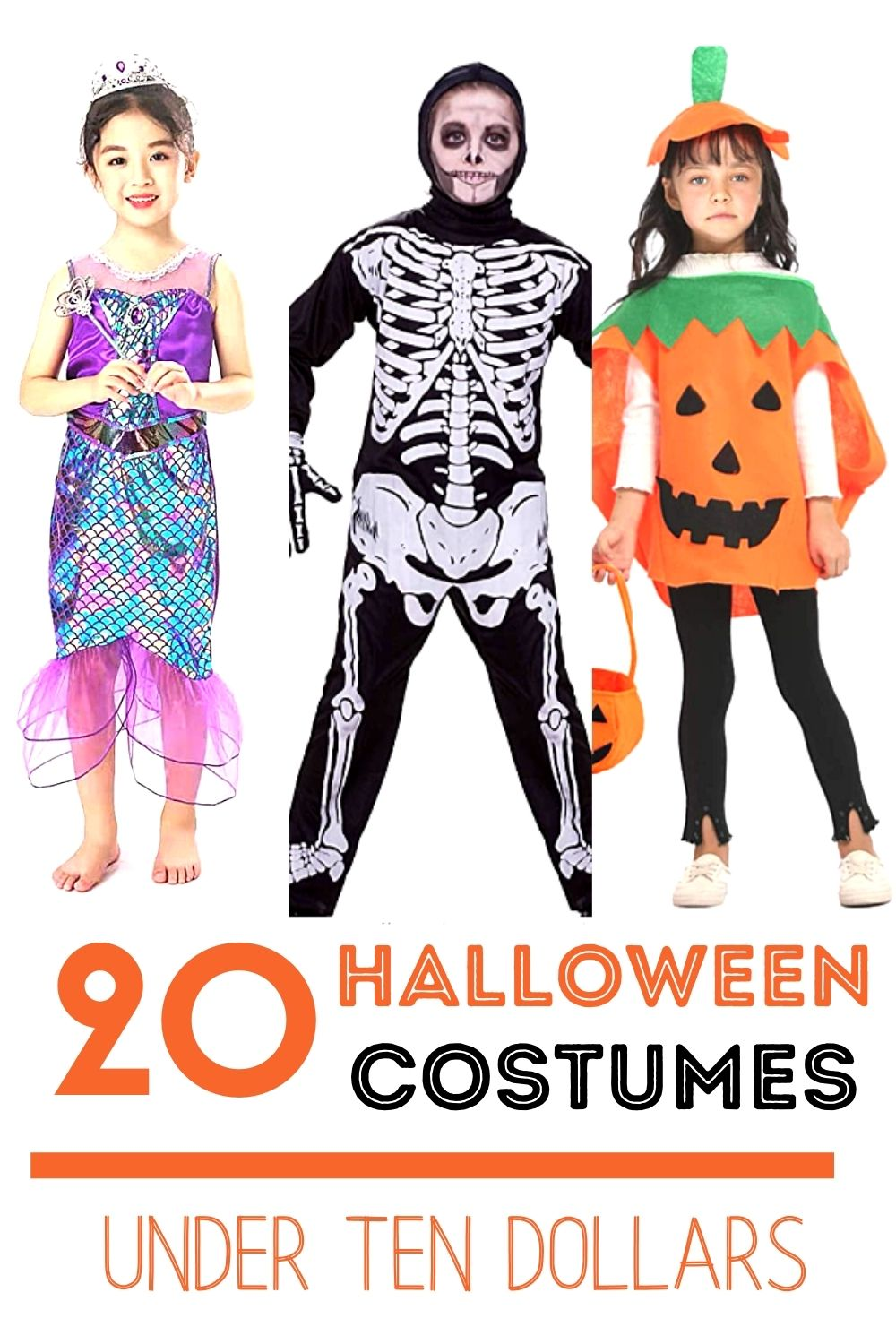 3 kids in Halloween costumes with the words 20 Halloween Costumes under ten dollars on it.