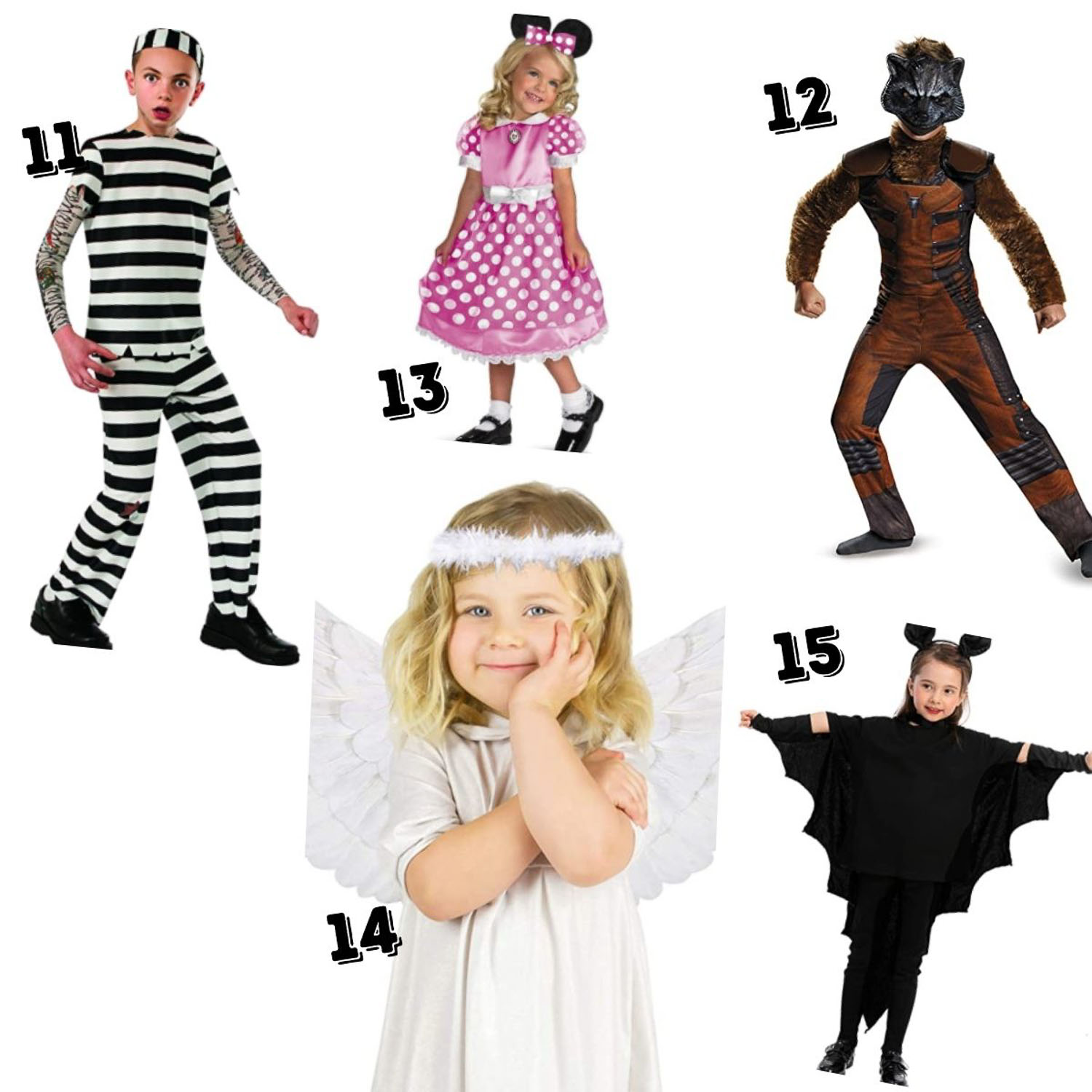 5 kid's cheap kids halloween costumes - prisoner, Minnie mouse, Marvel Raccoon, Angel and Vampire Bat.