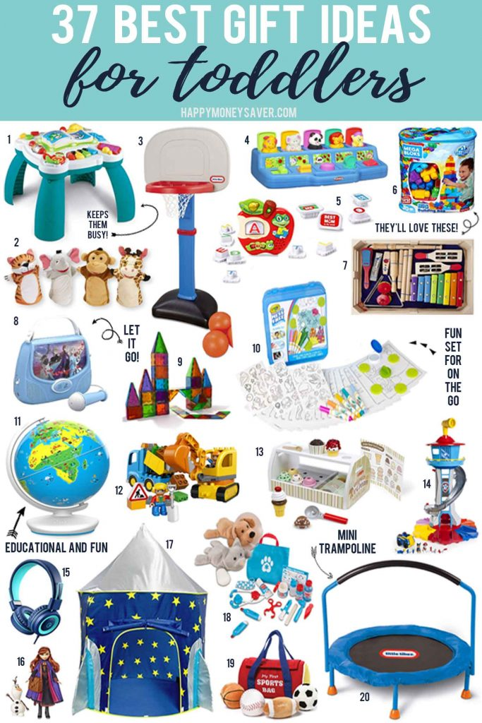 37 Best Gift Ideas for Toddlers with product images from happymoneysaver.com