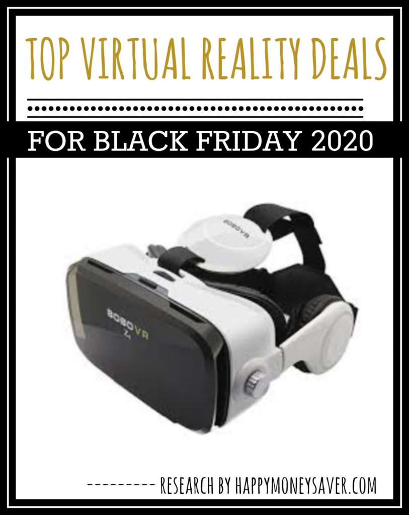 VR googles on white background with words top virtual reality deals for black friday 2020 with amazon links included and research by happymoneysaver.com