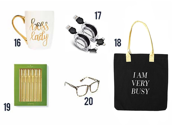 20 Gift Ideas for VA's - items 16-20 such as boss lady mug, gold pens, glasses for computer use and tote bag.